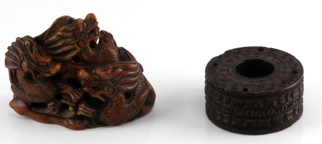 CARVED SHOUSHAN STONE CHINESE DRAGON & INKWELL
