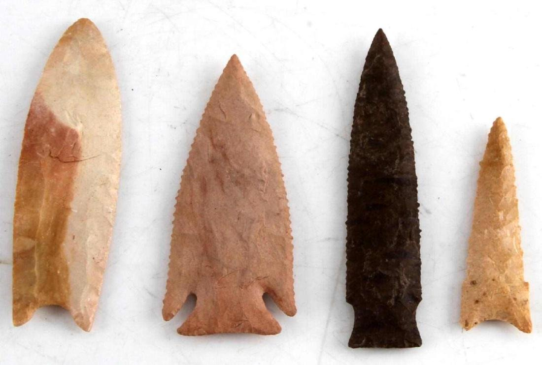 LOT OF 4 ASSORTED ARCHAIC TO NEOLITHIC ARROWHEAD