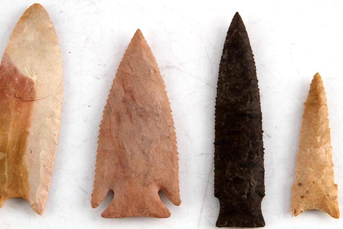 LOT OF 4 ASSORTED ARCHAIC TO NEOLITHIC ARROWHEAD - 2