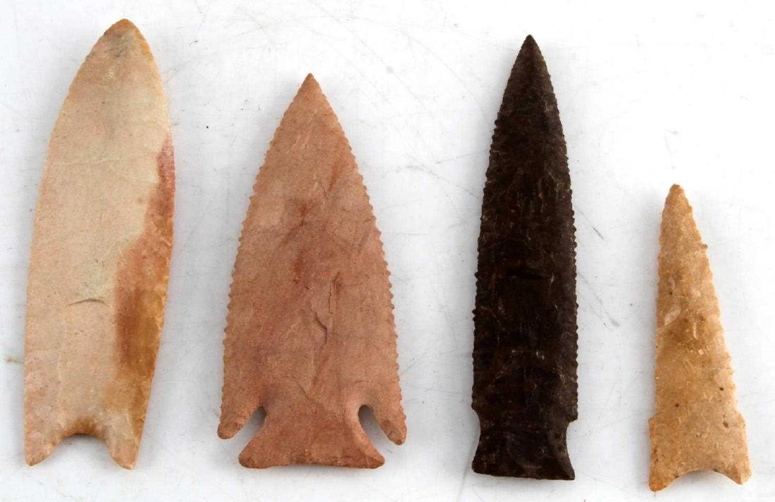 LOT OF 4 ASSORTED ARCHAIC TO NEOLITHIC ARROWHEAD - 3
