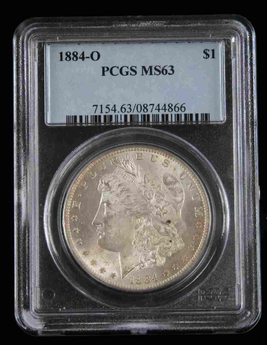 1884 0 MORGAN SILVER DOLLAR COIN PCGS MS COIN - 2