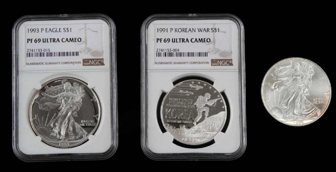 1996 MS & 19931993 PF SILVER EAGLES & KOREAN PROOF