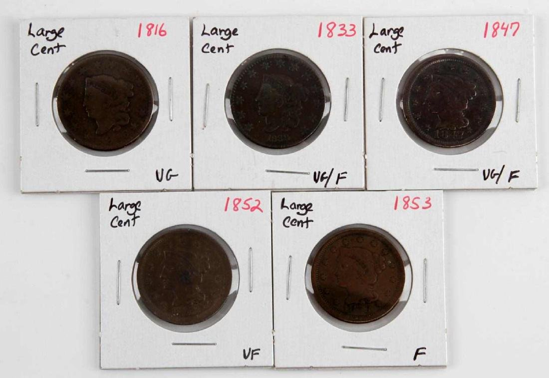 1816 TO 1853 US LARGE CENT COIN LOT OF 5