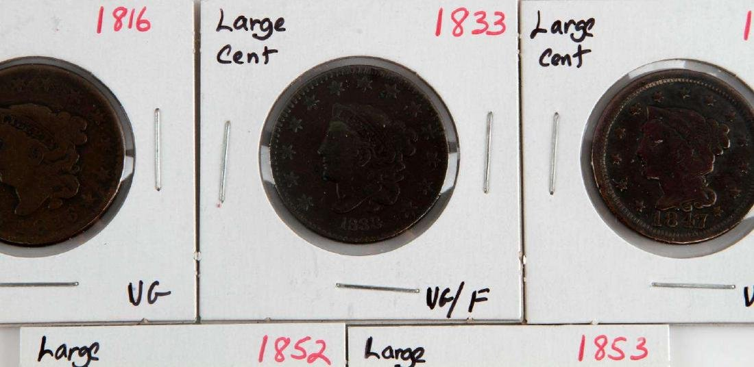 1816 TO 1853 US LARGE CENT COIN LOT OF 5 - 3
