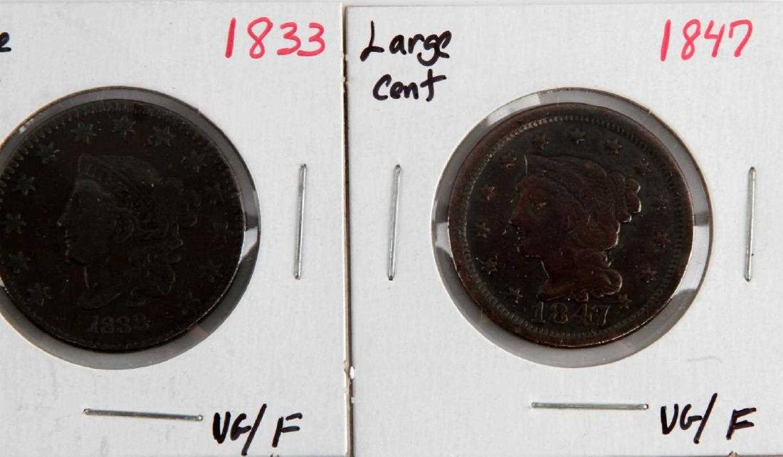 1816 TO 1853 US LARGE CENT COIN LOT OF 5 - 4