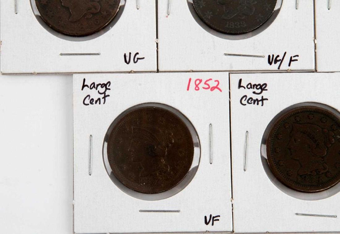 1816 TO 1853 US LARGE CENT COIN LOT OF 5 - 6