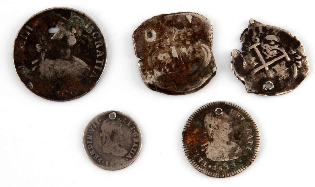 19TH CENTURY HOLED COIN LOT REALES COB MARAVEDIS