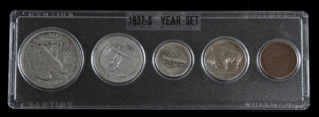 1937 S U.S. COIN SET BETTER YEAR 5 COINS - 3