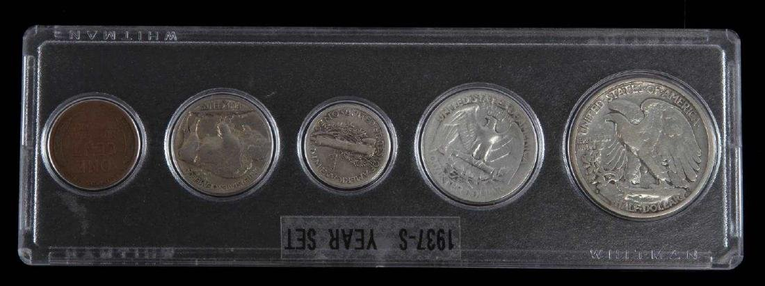 1937 S U.S. COIN SET BETTER YEAR 5 COINS - 4