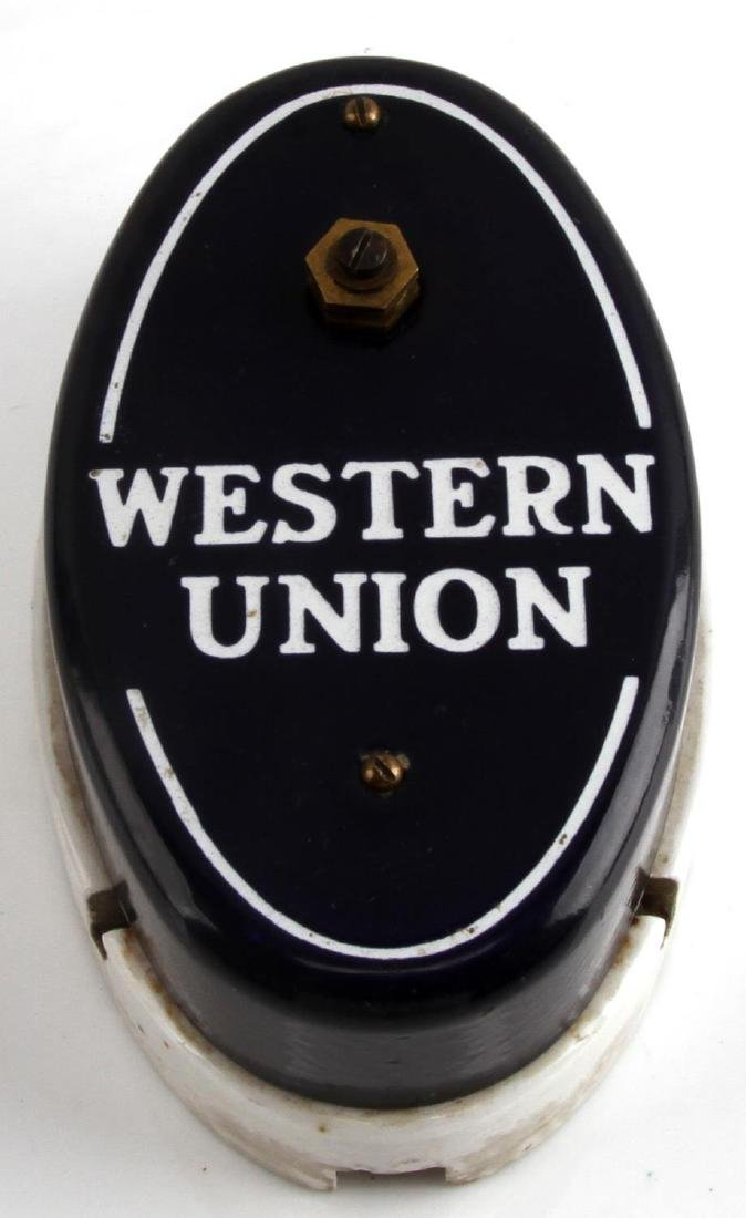ANTIQUE WESTERN UNION PORCELAIN CALL BOX 6-B