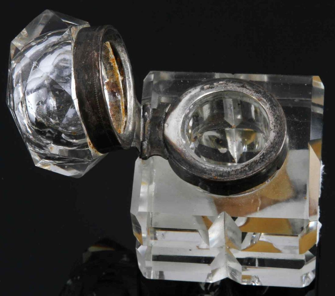 ANTIQUE CRYSTAL AND SILVER PLATED INKWELLS LOT - 3
