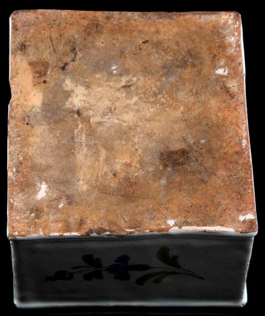 17TH CENTURY TIN GLAZED SCOTTISH THISTLE INKWELL - 4