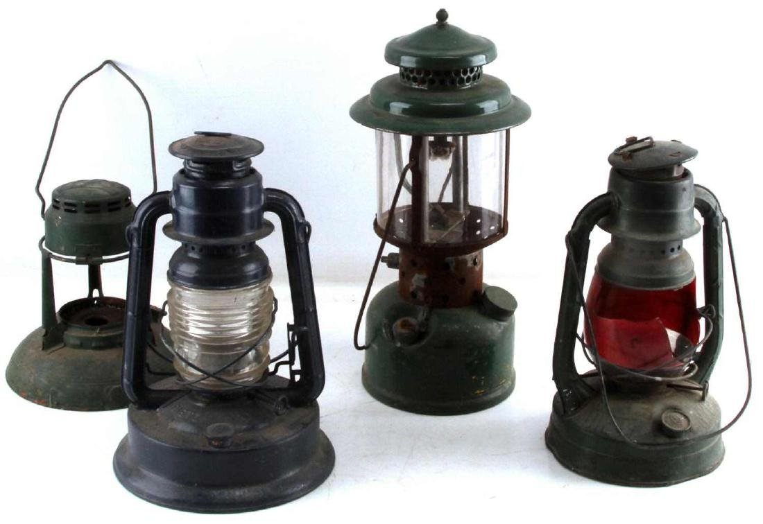 LOT OF 4 ANTIQUE LANTERNS DIETZ USCG ONE BROKEN