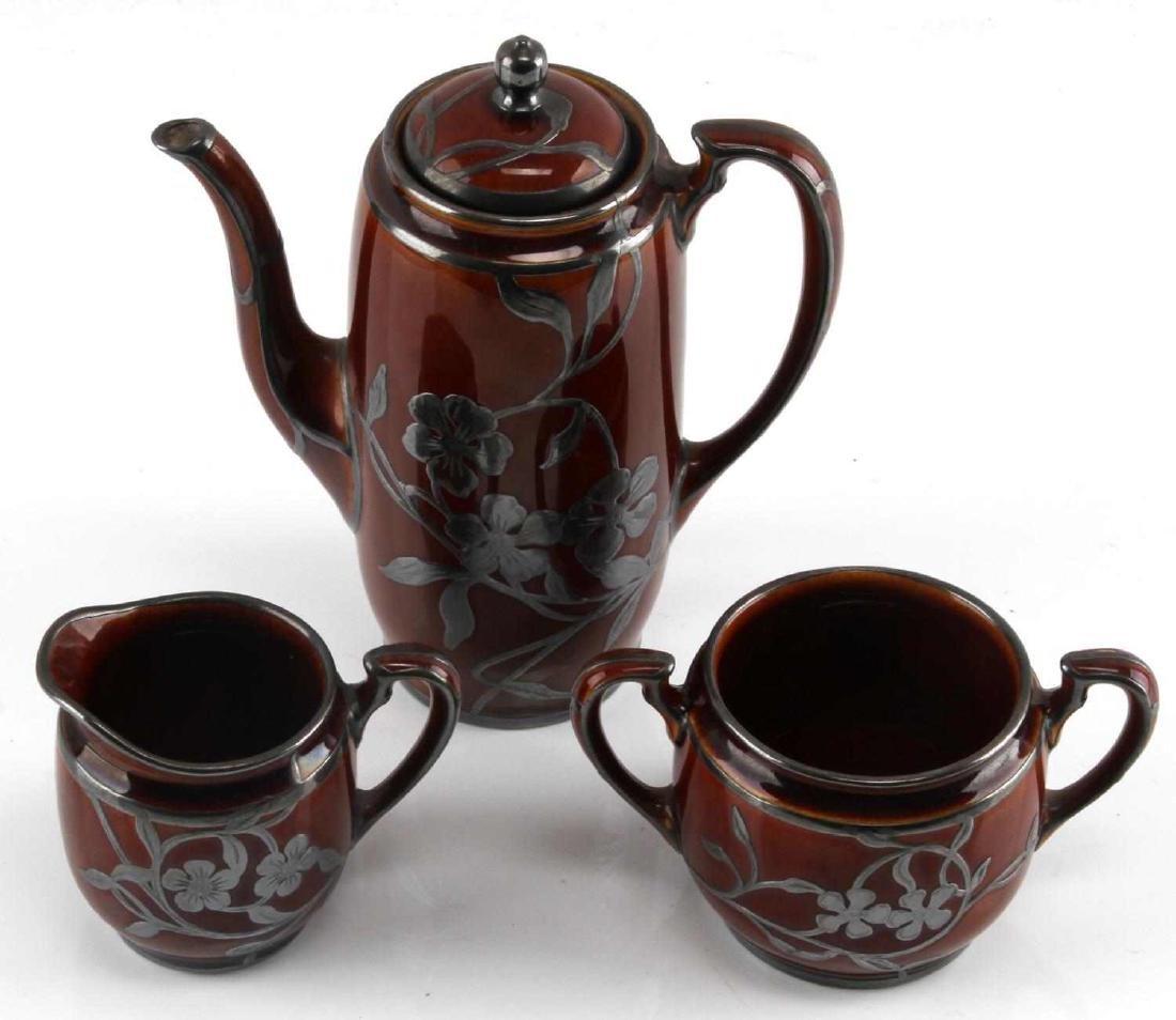 ART NOUVEAU LENOX SILVER OVERLAY PORCELAIN TEA SET