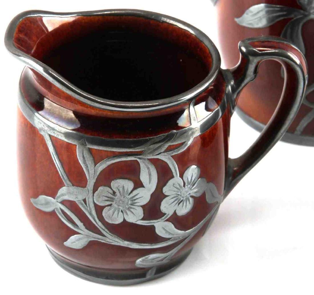ART NOUVEAU LENOX SILVER OVERLAY PORCELAIN TEA SET - 2