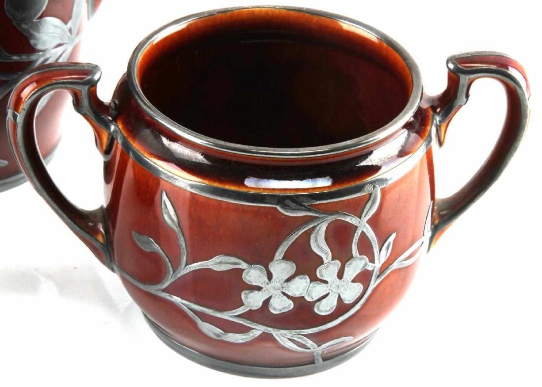 ART NOUVEAU LENOX SILVER OVERLAY PORCELAIN TEA SET - 3