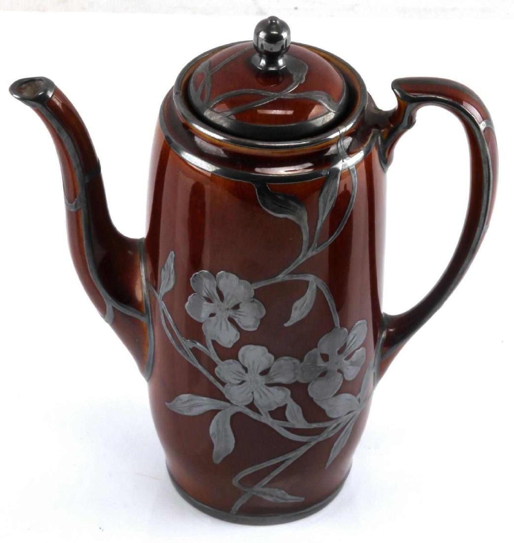 ART NOUVEAU LENOX SILVER OVERLAY PORCELAIN TEA SET - 4