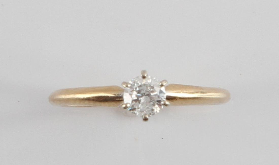 14KT GOLD 1/4CT DIAMOND SOLITAIRE ENGAGEMENT RING
