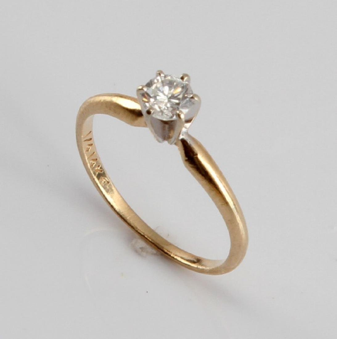 14KT GOLD 1/4CT DIAMOND SOLITAIRE ENGAGEMENT RING - 2