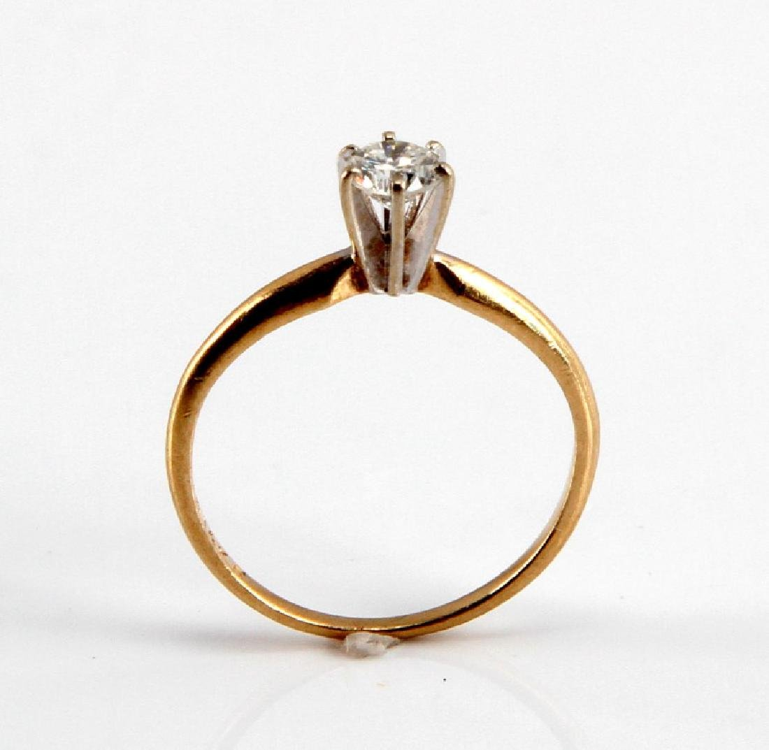 14KT GOLD 1/4CT DIAMOND SOLITAIRE ENGAGEMENT RING - 4