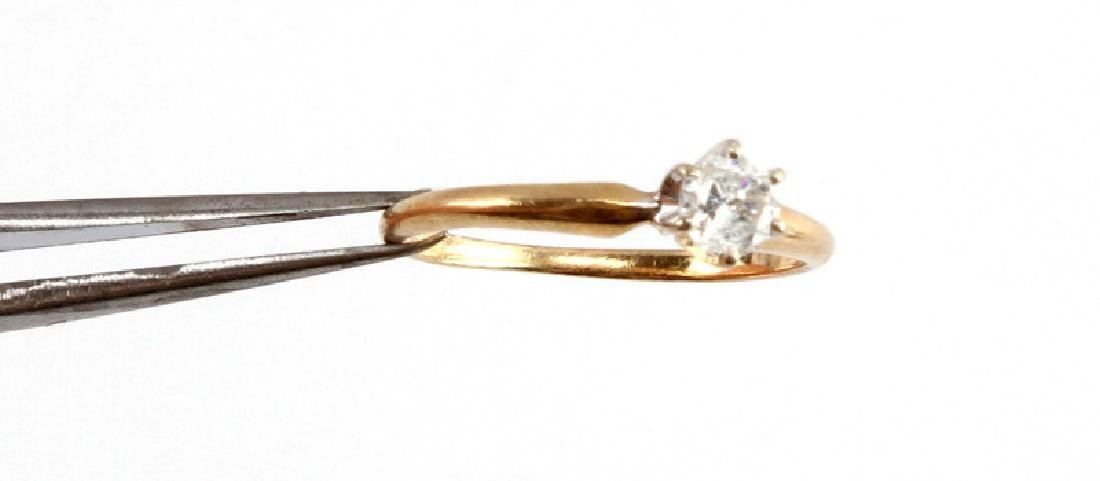 14KT GOLD 1/4CT DIAMOND SOLITAIRE ENGAGEMENT RING - 5