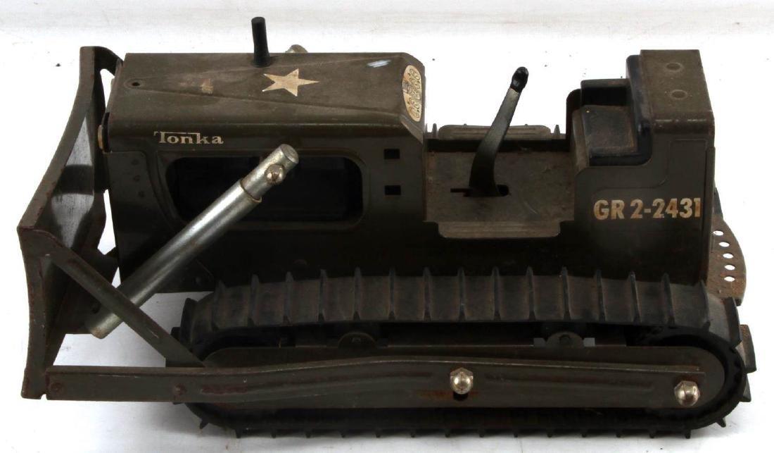 VINTAGE DIE CAST TONKA WWII US ARMY BULLDOZER - 3