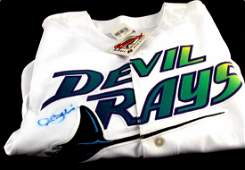 ROCCO BALDELLI AUTOGRAPHED DEVIL RAYS JERSEY MLB
