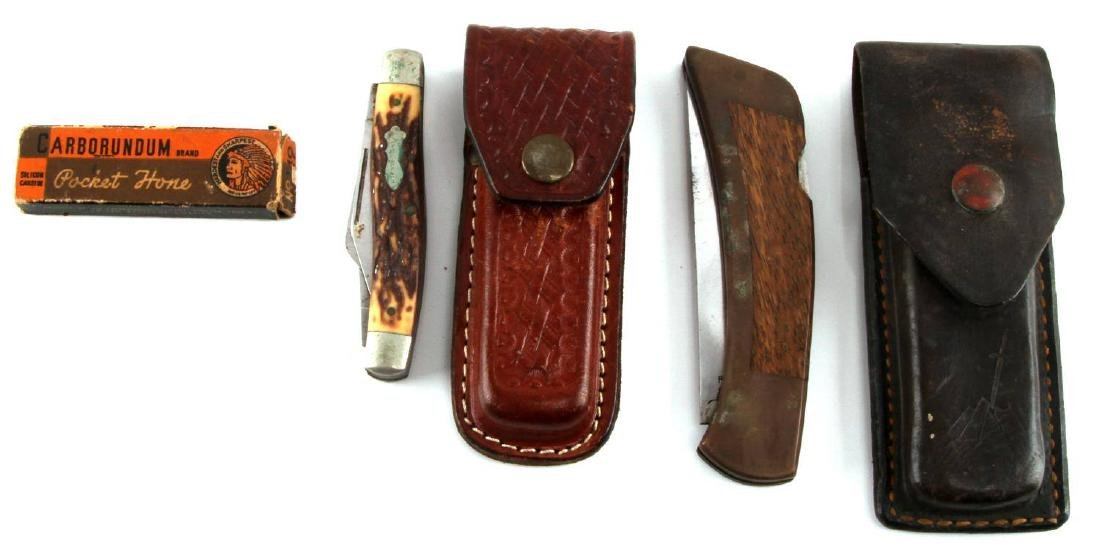 VINTAGE LEATHER CASE FOLDING POCKET KNIFE LOT