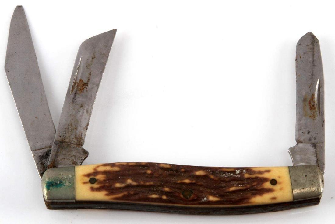 VINTAGE LEATHER CASE FOLDING POCKET KNIFE LOT - 4