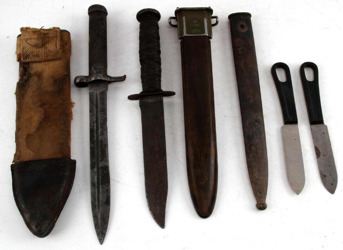 WWII MARK 2 FIGHTING KNIFE BAYONET & SCABBARD LOT