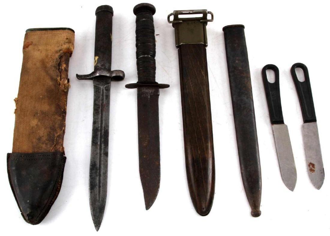 WWII MARK 2 FIGHTING KNIFE BAYONET & SCABBARD LOT - 5