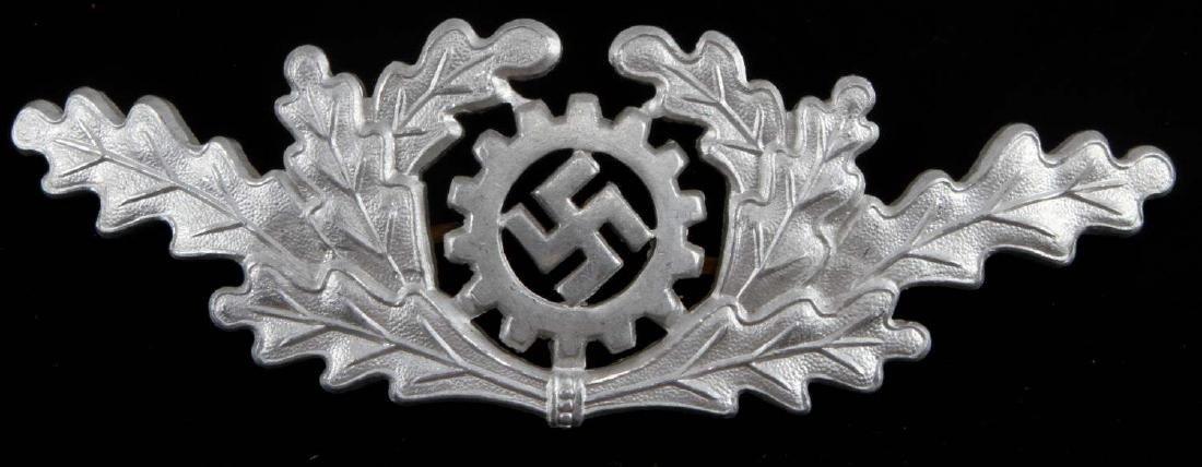 WWII GERMAN 3RD REICH DAF OFFICER VISOR CAP BADGE