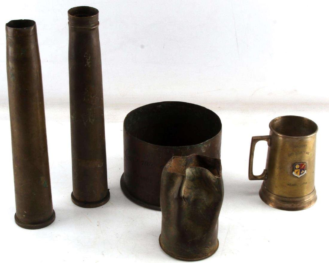 US MILITARY MULTI CONFLICT BRASS SHELLS & CUP LOT