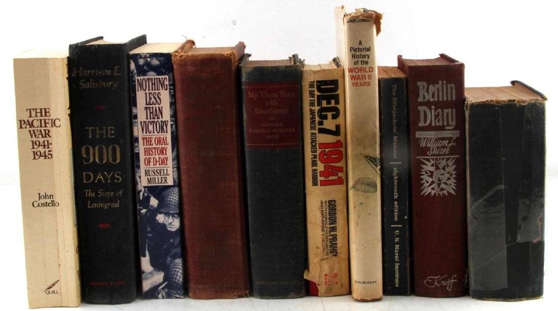 LOT OF 10 VINTAGE WWII MILITARY & WAR BOOKS
