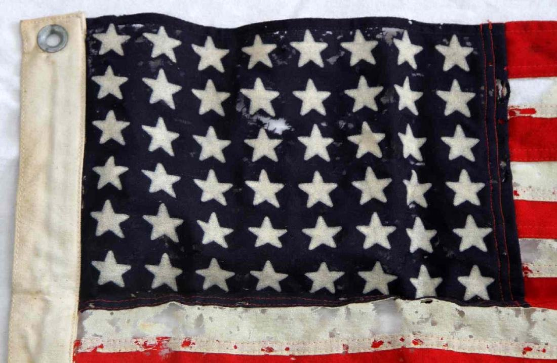 WWII 1944 DATE U.S BATTLE FLAG OF TATTERED RAYON - 2