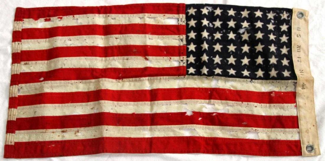 WWII 1944 DATE U.S BATTLE FLAG OF TATTERED RAYON - 3