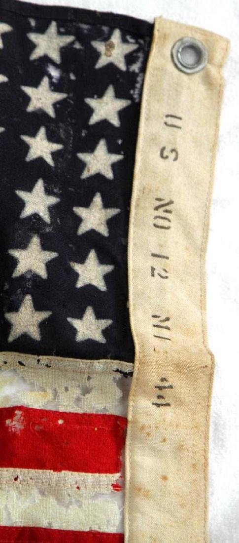 WWII 1944 DATE U.S BATTLE FLAG OF TATTERED RAYON - 4