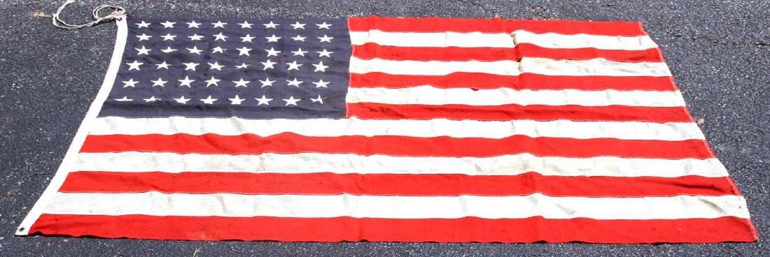 LARGE WOOL US 48 STAR BATTLE FLAG