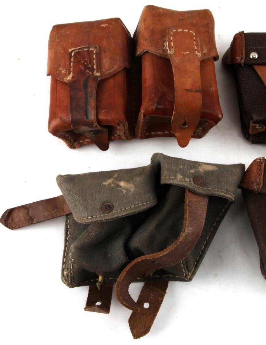 WWII ERA LEATHER AND CANVAS GERMAN POUCH LOT - 2