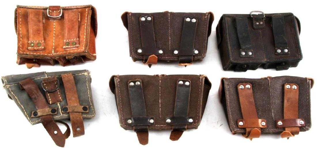 WWII ERA LEATHER AND CANVAS GERMAN POUCH LOT - 5