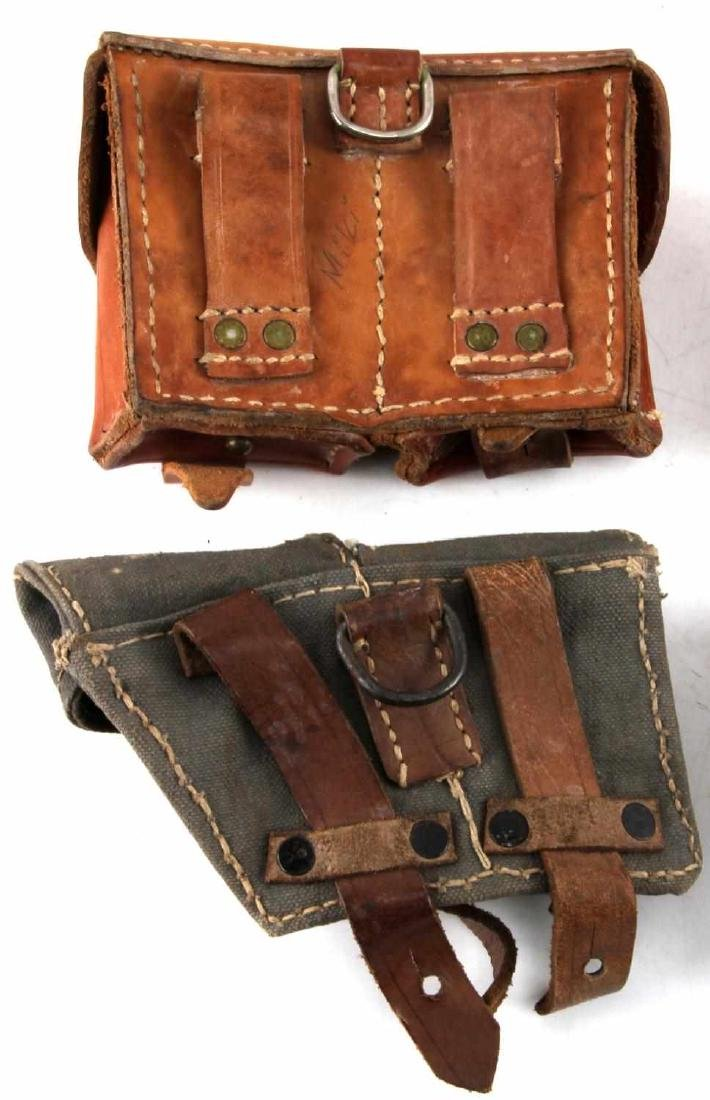 WWII ERA LEATHER AND CANVAS GERMAN POUCH LOT - 6