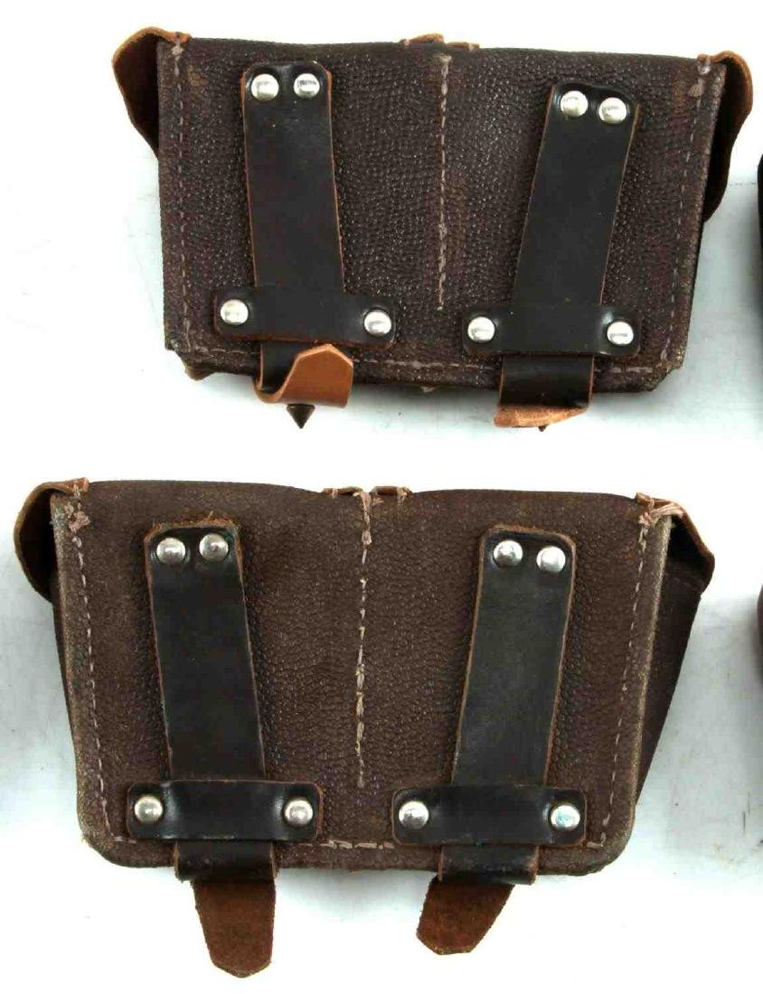 WWII ERA LEATHER AND CANVAS GERMAN POUCH LOT - 7