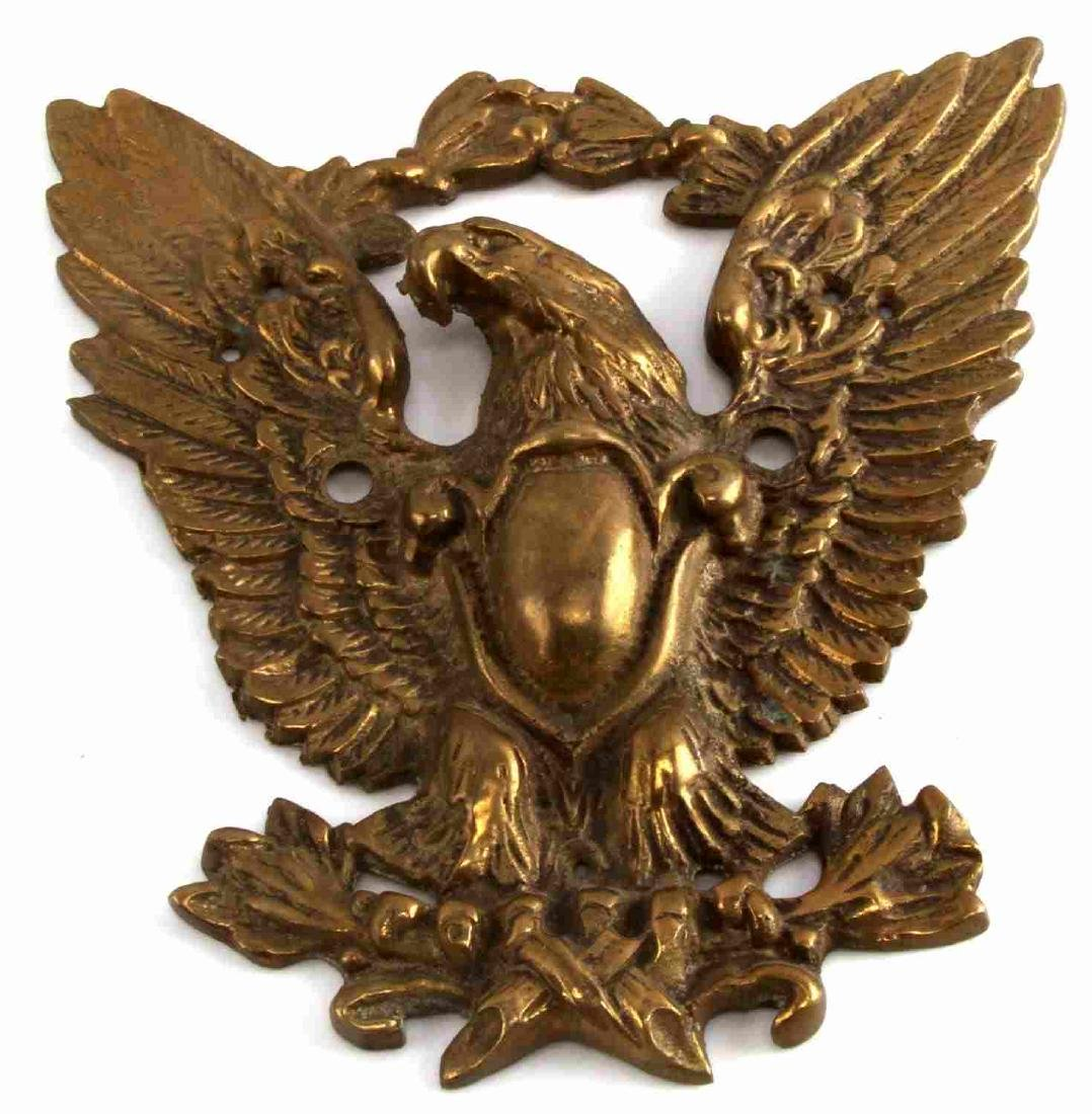 ANTIQUE FEDERAL EAGLE BRASS OUTDOOR WALL MOUNT