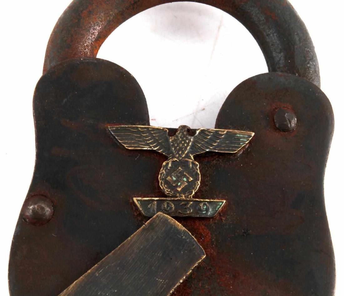 MARKED WWII GERMAN THIRD REICH LARGE PADLOCK & KEY - 2