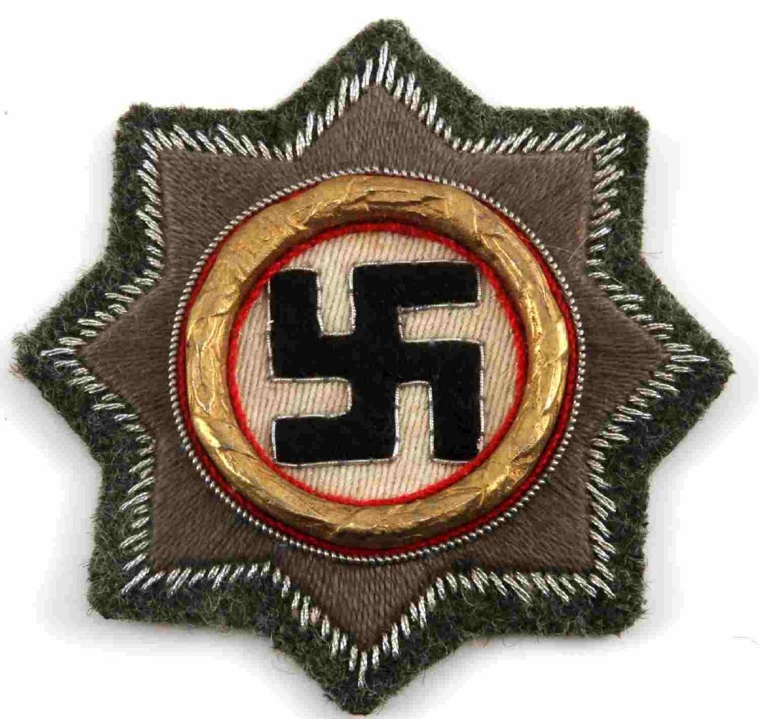 WWII THIRD REICH CLOTH GERMAN CROSS IN GOLD
