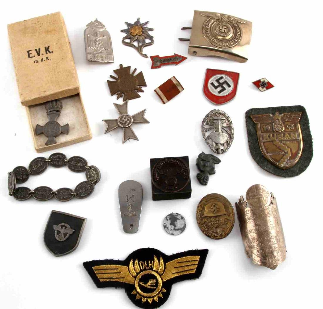 LARGE LOT OF 21 GERMAN WWII MEDALS PINS MORE