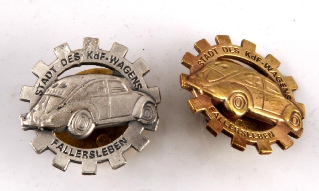 2 GERMAN WWII GRAND OPENING VOLKSWAGEN BADGE LOT