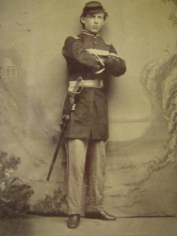 CIVIL WAR OFFICER TINTYPE 1850 SWORD WEBBED