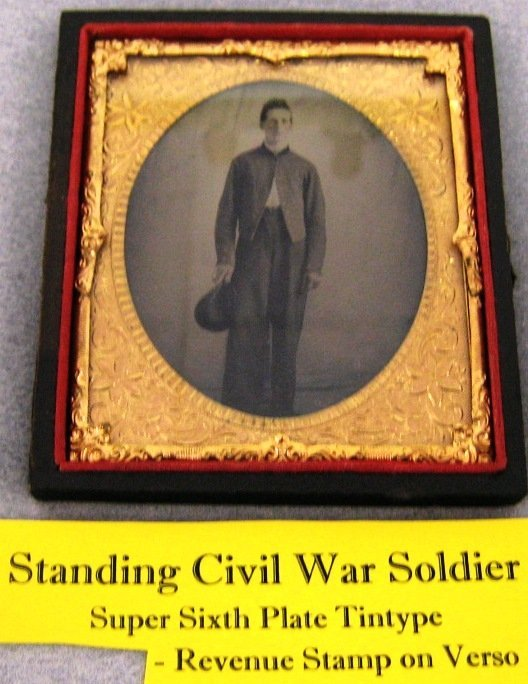 CIVIL WAR SOLDIER TINTYPE WITH REVENUE STAMP