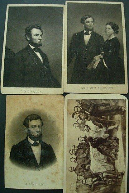 FOUR CARTE DE VISITE OF ABRAHAM LINCOLN